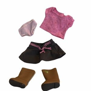 American Girl doll 4 pieces , T-shirt,boots, skirt